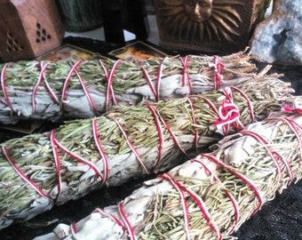 "XL Rosemary & White Sage Smudge Bundle 9"" inch Smudge Stick"