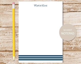 personalized striped notepad . stripes note pad . three stripes . personalized stationery, stationary