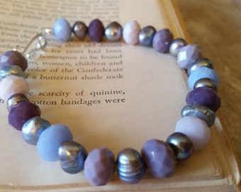 Purple and silver glass & pearl bracelet