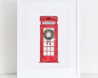 English Telephone Booth Fine Art Watercolor Print