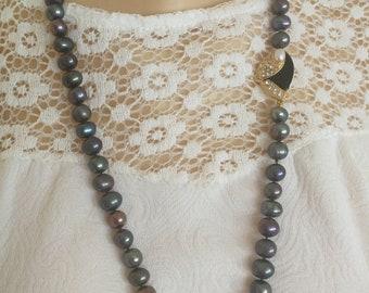 Black pearl necklace with jewel closure, Italian jewellery