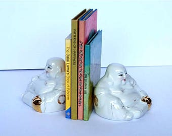 Matching Buddha Figurines Book Ends Friendship Vintage