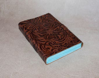 Brown flower embossed leather journal sketchbook, unique notebook A6 travel journal