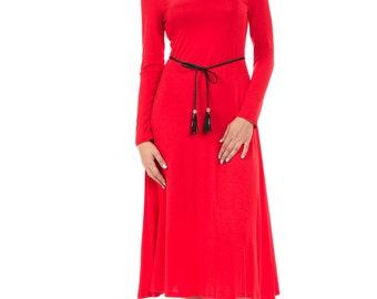Long Sleeve A-Line Midi Dress with Braided Tassel Belt Red