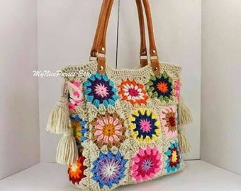 Crochet granny squares handbags with tassels and genuine leather handles crochet bag tote bag boho style bag summer bag