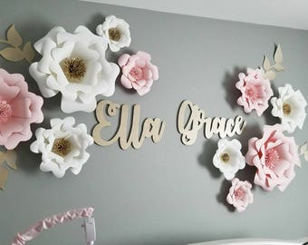 Pink, white and gold paper flowers