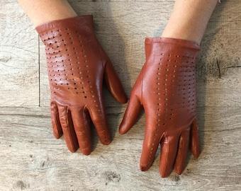 Leather gloves vintage camel