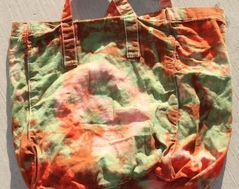 green and orange medium tote bag