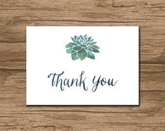 Succulent Thank You Card, Wedding or shower thank you card - rustic wedding, watercolor succulent, greenery, green navy coral - Sonja