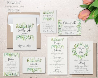 printable wedding invitation set printable greenery wedding invitation suite leafy wreath garden wedding calligraphy invite save the date