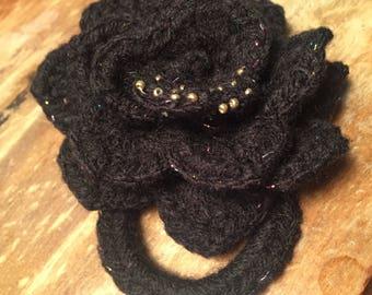 Black Rose Hair Tie