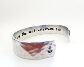 Secret Message Cuff Bracelet, Hope anchors the soul, Hebrews 6:19, Hammered Texured, Customizable