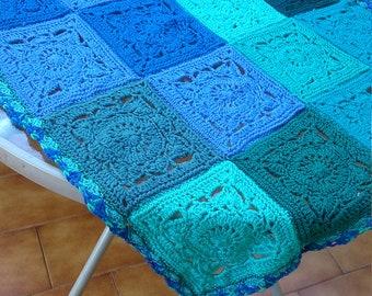 turquoise green blue baby crochet blanket