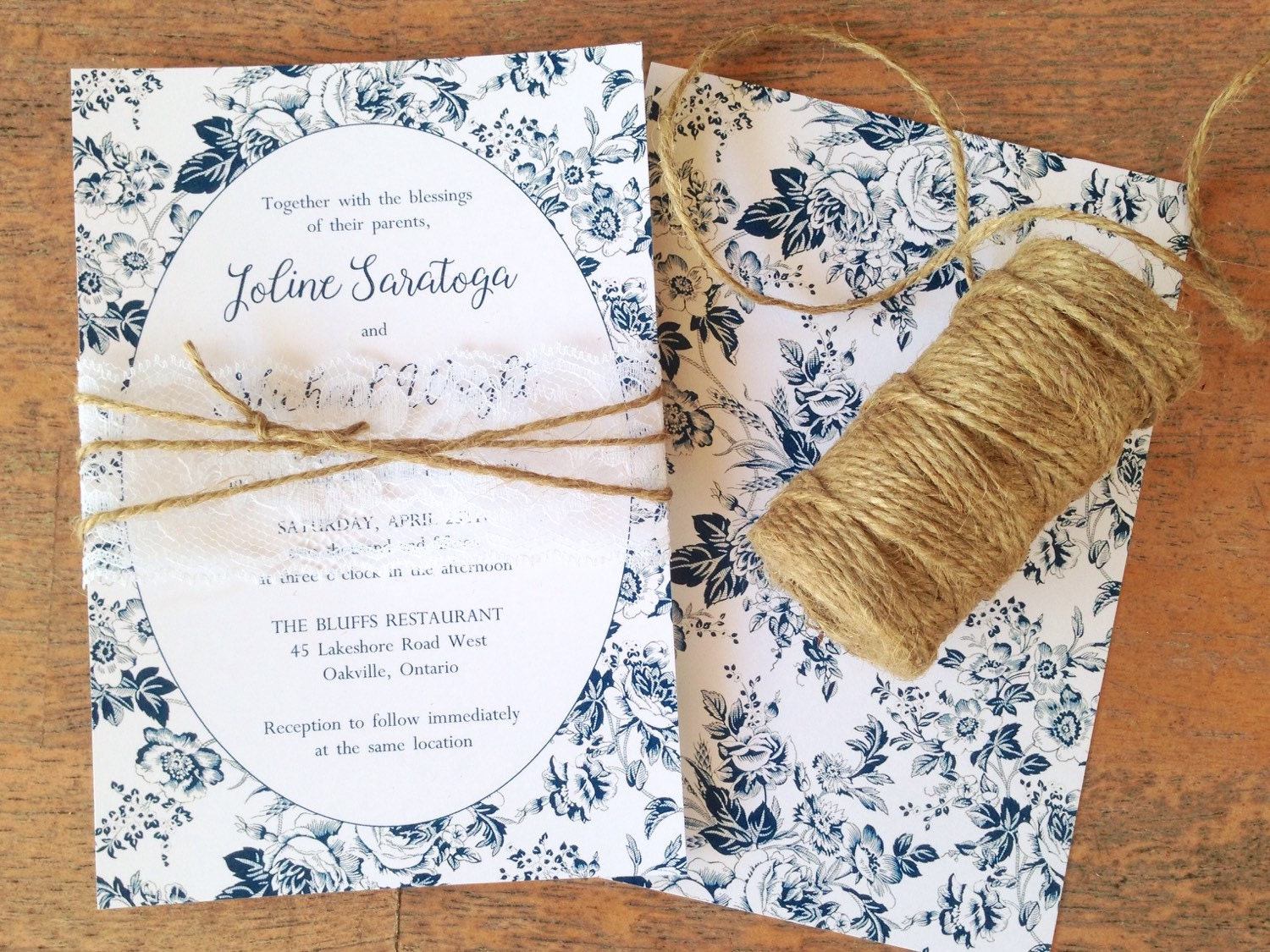 Rustic Wedding Invitation Lace French Toile