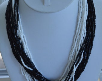 "Black, White Glass Seed Bead Necklace, 20"", Vintage"