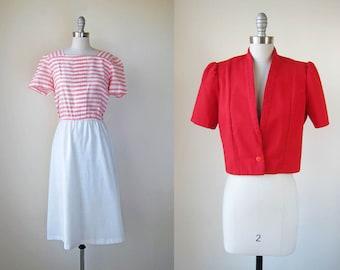 1980s vintage red pink white stripe short sleeve bolero jacket dress set s m