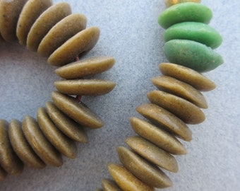 Umber Ashanti Ghana Glass Disk Beads (14x4mm) [68141]