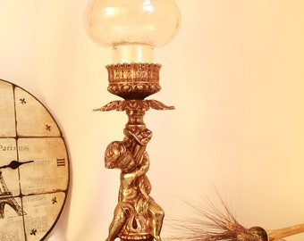 Unique table lamp, stamped base,glass shade,special lighting, home decor, old lamp, collectible treasure, unique item