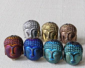 Hematite Buddha Beads - Jewelry Making Supply - Colored Hematite Beads - 9x10mm - 4 beads
