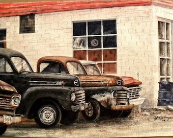 Small Town Garage, Original Watercolor