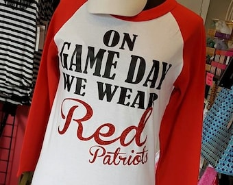 Women's On Game Day We Wear Red Baseball Tee
