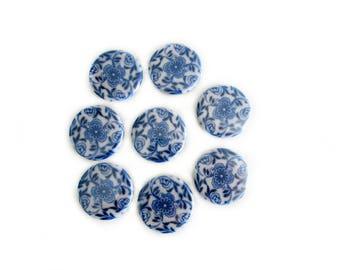 Flow Blue Refrigerator Magnets - Fridge Magnet Set - Vintage Blue and White Decor - Gift for Mom - Farmhouse or Cottage Kitchen Decor