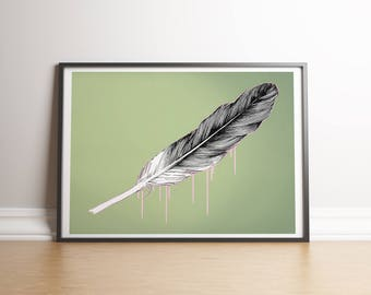 Feather Art Print, Poster, Drawing, A5, A4, A3, A2, A1, A0, Illustration, Gift for Her, Wall Art, pen and ink