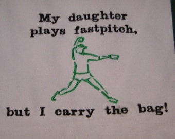 SALE 50% off Fastpitch Softball Pitcher Large Canvas Tote Bag EMBROIDERED 18 x 5 x 12 Green