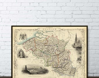 Belgium map   - Old maps restored - Vintage map of Belgium archival reproduction