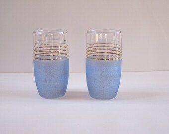 Pair of blue granite-like glass tumbler with golden stripes 1950 vintage  Made in France