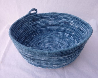Fabric Rope Bowl covered in Hand Dyed Indigo Fabric