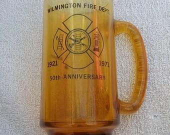 Vintage 1971 Wilmington Delaware Fire Dept Anniversary Glass Mug vtg