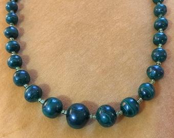 Green Stone Beaded Necklace from Nairobi, Kenya
