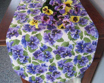Purple Pansy Table Runner 36 Inch Reversible Purple Table Runner Spring  Pansy Table Runner Lavender Table