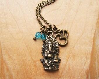 Ganesha necklace Om pendant turquoise glass beads. Ohm Aum Lord Ganesha  Ganesh Chaturthi