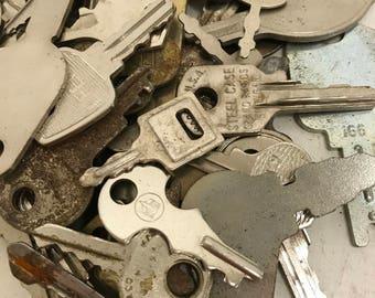 Vintage Flat Keys- Set of 50 #12