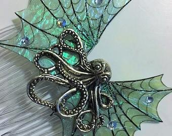 Fantasy Fairy Mermaid Pirate Gothic Octopus Wings Hair Comb