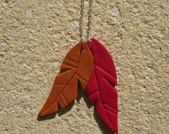 Collier - Plumes en fimo - Rouge et marron