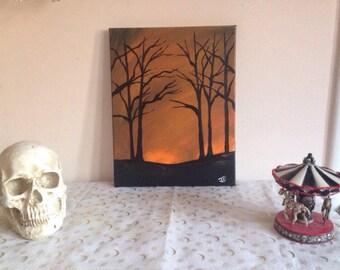 Original Orange sky creepy tree scene acrylic painting