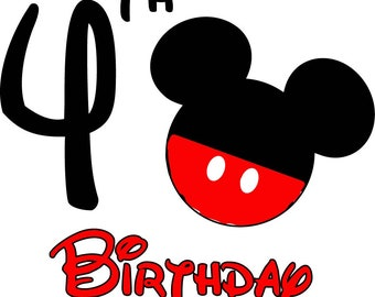 Mickey Mouse Birthday Shirt (Age 4)