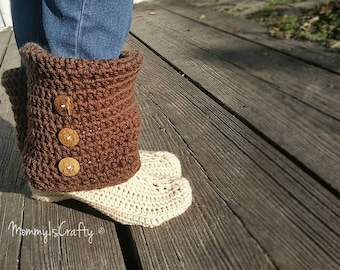 Boot Slippers - Women Booties -Slouchy Booties - Crochet Slippers - Brown - Tan - Comfy - You Choose Colors - MommyIsCrafty