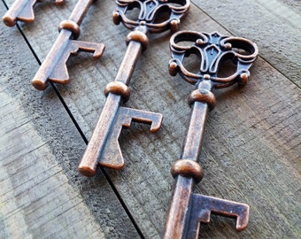 Skeleton Key Bottle Opener Antiqued Copper Keys Large Skeleton Key Steampunk Vintage Style Wedding Key Favor Key Pendant 3 inches 1 Key