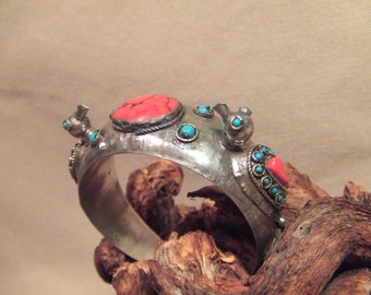 Tribal silver cuff bracelet -- old Kuchi jewelry -birds -- heavy patina( FREE SHIPPING SALE)