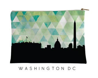 Washington | Washington Skyline Geometric | Washington Purse | Washington City Skyline | Washington Cosmetic Bag | Washington Pouch Green