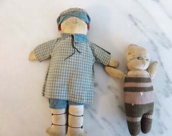 Vintage 1920's cloth dolls-set of 2