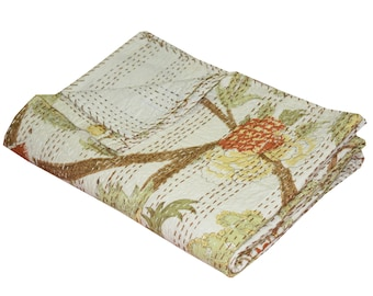 Vintage Kantha Quilt Beautiful Cotton Kantha Blanket Handmade Kantha Beach Throw Hand Stitched Floral Tree Print Indian Kantha Bedspread