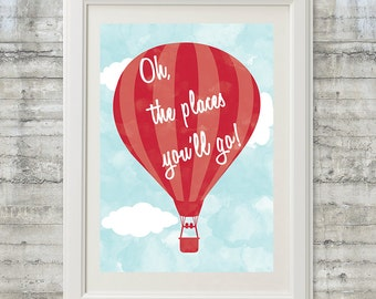 Oh The Places You'll Go Printable Dr. Seuss Poster 19x27 in Cherry Red