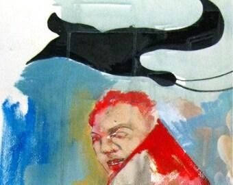 "Painting- Acrylics on cardboard ""Away""  by Yelena Parharidou"