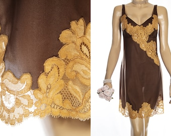 Amazing 1960's vintage sheer silky soft rich chocolate brown nylon and contrasting delicate gold floral lace detail full slip - 4261