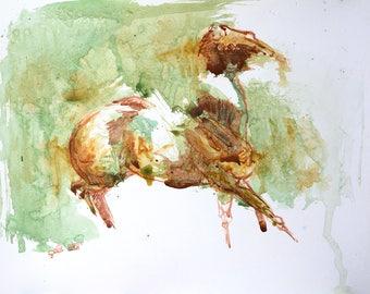 Acrylic Painting of a Canter Horse, Contemporary Original Fine Art, Horse Portrait, Animal Art